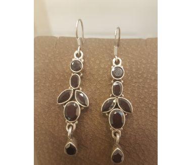 Silver Black Gems Earing