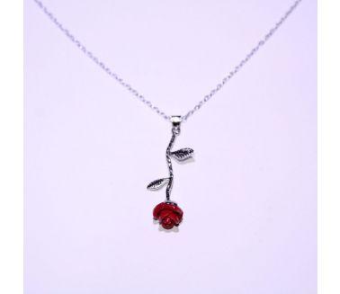 Red Rose سلسلة فضة
