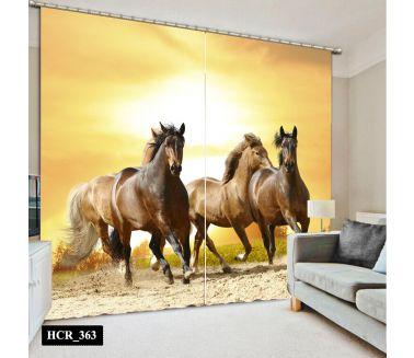 Horses  Printed Curtain - Code:HCR-363