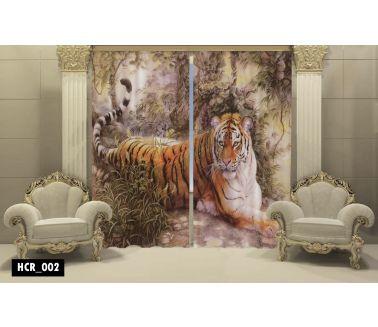 Tiger  Printed Curtain  - Code:HCR-002